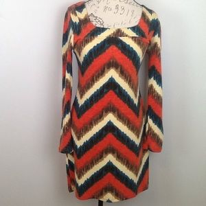 Anthropology brand Aryeh bright chevron L/S dress